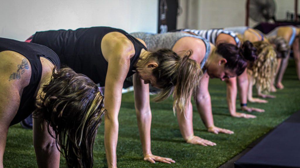 several women in plank position